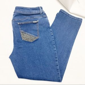 Chico's light washed jeans. Animal print on back.